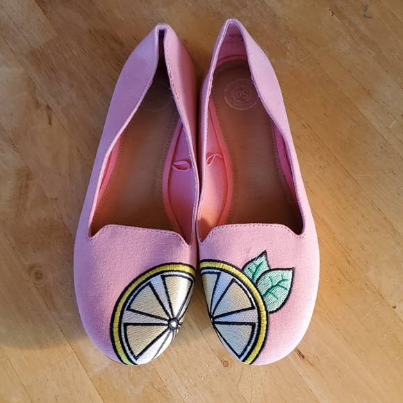 SO Anchovy Lemon Ballet Flats Pink Yellow Size 9
